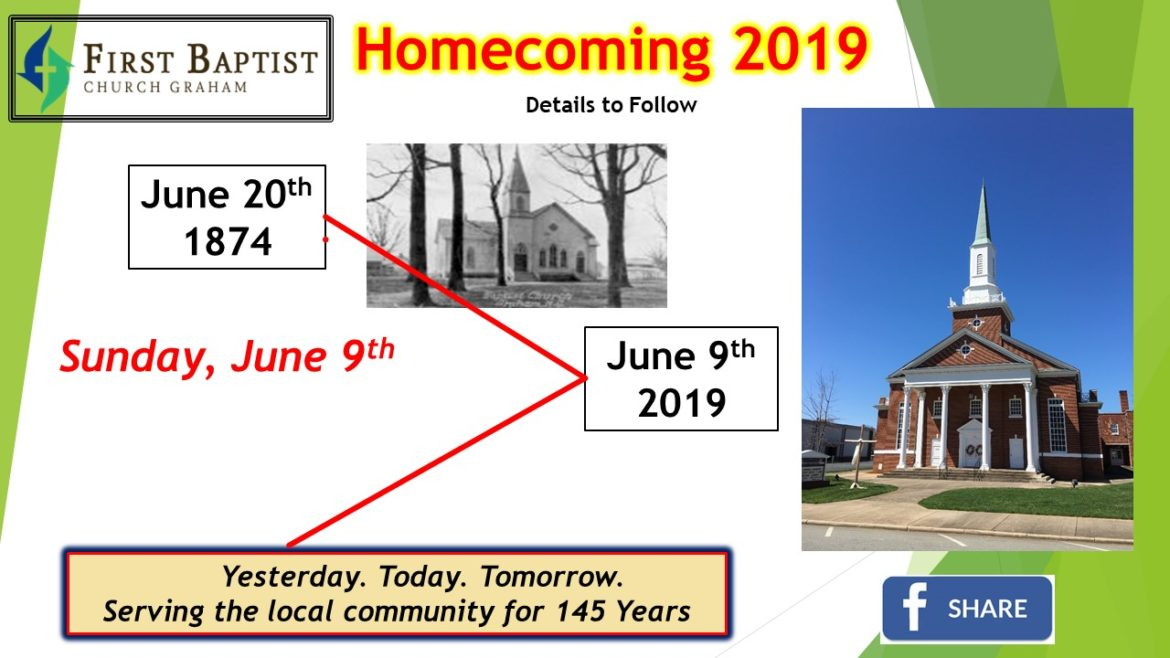 FBCG Homecoming – June 9, 2019